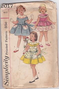 50s Tulip Little Girl Dress Wide Round Collar Sleeveless Size 2 Breast 21 Vintage Sewing Pattern Simplicity 2017 Complete