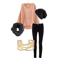 Salmon and Black with gold accessories. <3 Try Lisette Style 805 in black. www.lisettel.com  fall fashion | fall style | gold bracelet | pink sweater | black pants | black scarf | black hat