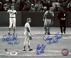 "Carlton Fisk, Johnny Bench & Pat Darcy Autographed 1975 World Series 8x10 Photo Stay Fair & Go Foul PSA/DNA . $139.00. This is an 8x10 photo that has been hand signed by Carlton Fisk, Johnny Bench & Pat Darcy. Carlton signed this one ""Stay Fair"" & Johnny & Pat signed this one, ""Go Foul."" The autograph has been certified authentic by PSA/DNA and comes with their sticker and matching certificate."