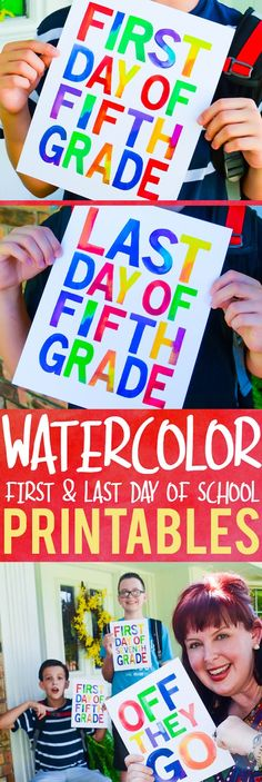 First and last day of school watercolor printables...with FUN bonus printables for parents and guardians! Entire pack includes grades 1-12, preschool, pre-k, and kindergarten. 1st Day Of School, Beginning Of School, Back To School, School Stuff, School Days, School Week, Summer School, School Fun, Middle School