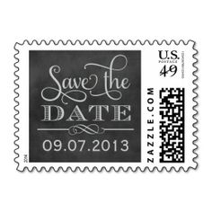 Wedding Save the Date | Vintage Chalkboard Postage. This is customizable to put a personal touch on your mail. Add your photos or text to design your own stamp that can be sent through standard U.S. Mail. Just click the image to try it out!