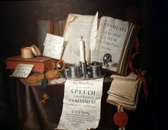 Edward Collier, Parliament, still life of books (1695). Kunsthandel Xavier Scheidwimmer at Tefaf 2016