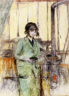 Edouard Vuillard - Young Woman Standing in the Studio, 1915. Pastel on paper. Private collection.