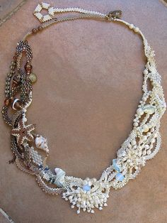 """""""Seashore"""" - Freeform beadwoven necklace by Lynn Manning on Flickr."""