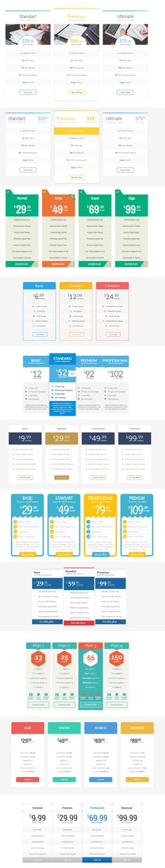 Free Pricing Tables 12 Designs PSD Template #webtemplates #freepsdtemplates #freewebtemplates #freebies #websitedesign