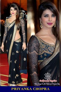 Priyanka Chopra Black Net saree with Net Thread work Blouse. Blouse is made of heavy thread work in Black color same as shown in Image. This saree looks georgous and perfect fit for party, engagement, wedding , festival occation. Bollywood Sarees Online, Bollywood Designer Sarees, Bollywood Fashion, Bollywood Style, Indian Bollywood, Bollywood Celebrities, India Fashion, Asian Fashion, Women's Fashion