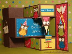 Owl Tri-Fold Shutter Card. Has link to Youtube video with instructions.