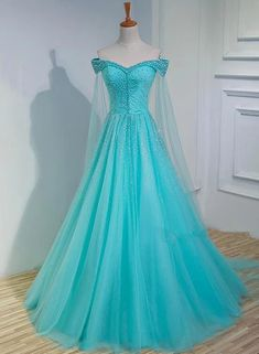 Gorgeous ice blue just beading shawl fancy ball gown medieval renaissance gown Ball Dresses, Ball Gowns, Evening Dresses, Prom Dresses, Wedding Dresses, Long Party Gowns, Fancy Gowns, Propositions Mariage, Pretty Dresses