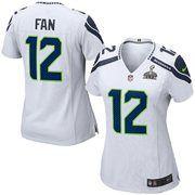 Seattle Seahawks Women's 12th Fan Nike Super Bowl XLIX Bound Game Jersey - White