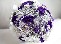 Brooch bouquet. Purple and silver wedding brooch bouquet, Jeweled Bouquet. Made upon request.. $290.00, via Etsy.