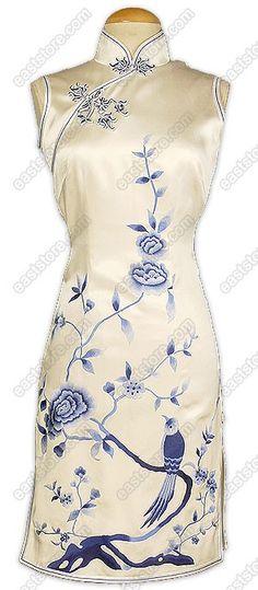 Feminine Qing Hua Embroidered Silk Cheongsam