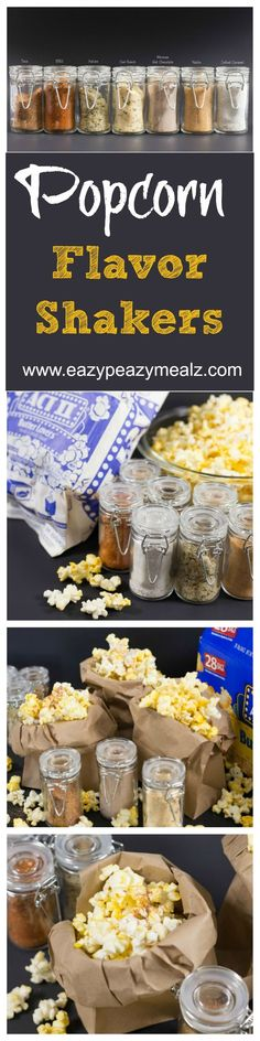 Popcorn flavor shakers paired with Act II Butter Lovers Popcorn for a Pop-tastic family movie night, with popcorn flavors everyone loves! Recipes for sweet, spicy, and cheese flavors!!! @SamsClub @ConAgraFoods #PopIntoSams #ad - Eazy Peazy Mealz