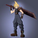 How To Draw Cloud Strife Blue Background Glow