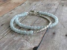 Genuine Blue Aquamarine Bracelet / March Birthstone Jewelry / Hill Tribe Silver Bead Bracelet