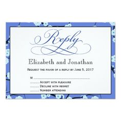 Periwinkle Blue Floral Reply RSVP Card