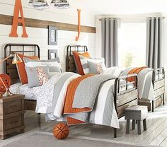 Like the color combo and the quilt | Pottery Barn Kids Branson quilt with Rugby Stripe duvet