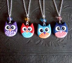 After the success of my felt owls in my ship, i made a bunch of clay painted owl…