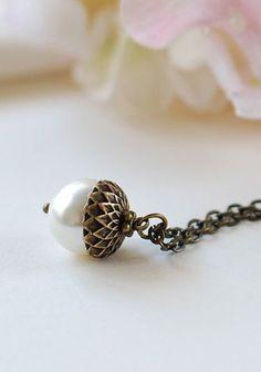 Acorn Necklace. Swarovski Cream Pearl Antiqued Brass