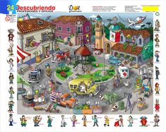 Elementary Spanish, Teaching Spanish, Teaching English, Learn English, Visual Motor Activities, Family Activities, Hidden Picture Puzzles, Wheres Wally, Family Day Care