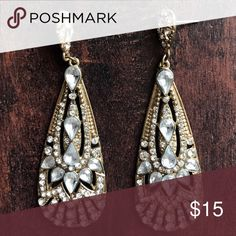Gold/Crystal Statement Earrings Check out my other listings to bundle. 💕 Jewelry Earrings