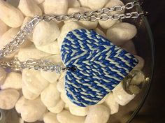 Knitted heart polymer clay charm