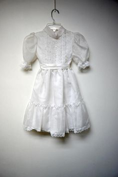 Cookie's Corner . white sheer and lacy dress for girls . by june22