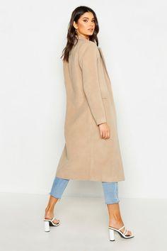 Tailored Coat | boohoo Coats For Women, Jackets For Women, Boyfriend Coat, Camel Coat Outfit, Style Sportif, Tailored Coat, Long Wool Coat, Beige Coat, Oversized Coat