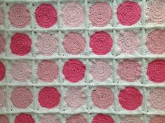 Polka dot pink, pink, pink and white baby girl crochet blanket or afghan and matching new born hat