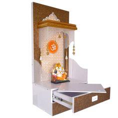 Designer Wooden Pooja Temple with Doubl. Pooja Room Door Design, Room Design Bedroom, Home Room Design, Home Decor Bedroom, Bedroom Furniture, Temple Design For Home, Home Temple, Mandir Design, Pooja Mandir