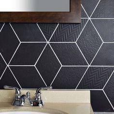 Merola Tile Rhombus Black in. Porcelain Floor and Wall Tile sq. / - The Home Depot Rhombus Tile, Black Backsplash, Black Tiles, Kitchen Models, Black Kitchens, Bathroom Flooring, Tile Flooring, Tile Design, Rustic Kitchen