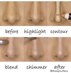 "Nose highlighting and contouring. Steps to create a ""slimmer"" nose...follow them on Instagram"