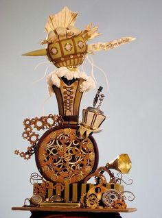 Steam Punk Cake by Christopher Garren. Not a steam punk lover by any means, although there's something about it that appeals to me - the intriguing collection of old things, most likely. This cake is awesome. Unique Cakes, Creative Cakes, Amazing Wedding Cakes, Amazing Cakes, Pretty Cakes, Beautiful Cakes, Steampunk Wedding Cake, Steampunk Theme, Steampunk Bedroom