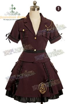 "fanplusfriend - Military Lolita, ""Airman Leeloo"": Uniform Jacket, Pleated Skirt, Mini Berlet*2color Instant Shipping, $123.60 (http://www.fanplusfriend.com/military-lolita-airman-leeloo-uniform-jacket-pleated-skirt-mini-berlet-2color-instant-shipping/)"