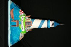 Lighthouse Cake  Lighthouse Cake Everything is edible except light. Lighthouse is cake covered in fondant. TFL!  #featured-cakes #leannew #cakecentral