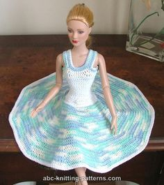 "ABC Knitting Patterns - Crochet Summer Dress  for Fashion 16 inch Dolls by Robert Tonner  [[I only had a 5mm hook, and no cotton thread, so I went with 35 for the initial chain & inserting a stitch every 5, going till it's ""long enough.]]"