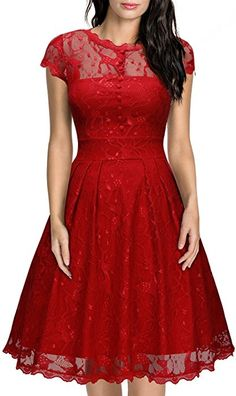 MIUSOL Women's Full Lace Button Front Backless Party Dress,X-Large,Red: Amazon.co.uk: Clothing