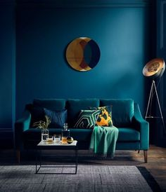 'The Interior Design Trends in - With Rockett St George & Busola Evans — HORNSBY STYLE How fabulous does this teal sofa look against the bold dark blue walls. Richmond 3 seater sofa (in velvet teal) from £. Teal Velvet Sofa, Teal Sofa, Blue Sofas, Velvet Room, Green Velvet, Dark Blue Walls, Teal Walls, Dark Blue Couch, Green Walls
