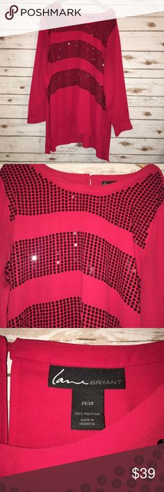"Lane Bryant Holiday Blouse Size 26/28W Size 26/28W  Armpit to armpit: 29""  Length: 32""  Fabric: 100% polyester  Lane Bryant brand   Red w/ black sequins   *Small area where a few sequins are missing*  Gorgeous red for upcoming holiday parties/get togethers or casual wear  Cute paired w/ Leggings and boots! Lane Bryant Tops Blouses"