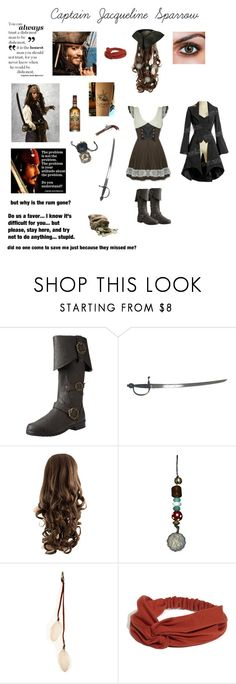 """Captain Jack Sparrow (female)"" by nerdbucket ❤ liked on Polyvore featuring Funtasma, Black Pearl, S.W.O.R.D., Gilded Lily Goods and LULU"
