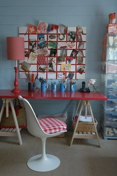 great desk area, love the colors and the memo board