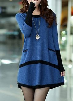 Blue and Black Long Sleeve Tunic Sweater