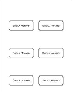 Wedding Name Placecards Free Template