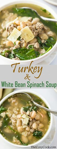 Turkey and White Bean Spinach Soup - The Cozy Cook Ground Turkey simmered in savory chicken broth with white beans, spinach, and simple seasonings. A healthy, protein-packed meal that will leave you feeling comforted and satisfied! Bean Soup Recipes, Healthy Soup Recipes, Beans Recipes, Protein Recipes, Simple Soup Recipes, Healthy Fall Soups, Healthy Beans, Thai Recipes, Vegetarian Recipes