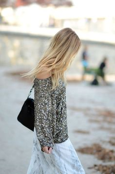 sequin sweater and print skirt, so chic