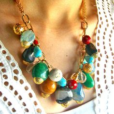 Bright Rainbow statement necklace  colorful by whimsicaljewellery, $69.00