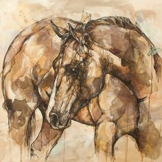 """Horse Art Print 12"""" x 12"""" Reproduction Of Original Ink and Acrylic Painting on Etsy, $37.04 CAD"""