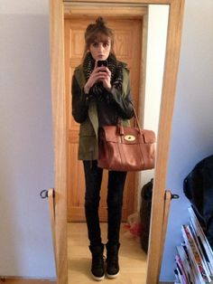 Leather Sleeved Khaki Jacket, Mulberry Bayswater, Black Wedged Sneakers