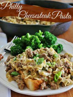 Philly Cheesesteak Pasta ~ Velveeta Cheesy Skillets