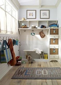 organized entry with cubbies and hooks