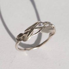 Leaves Ring No.2 14K White Ring unisex ring wedding by doronmerav